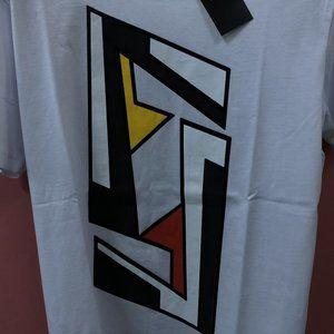 """Fendi Men Chest Printed White T-Shirt """"M"""""""